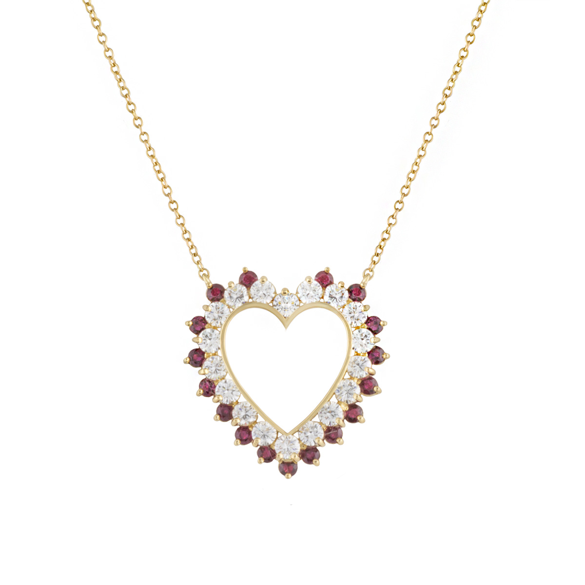 18k Yellow Gold Ruby & Diamond Heart Necklace